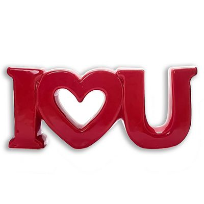 ESTATUA DECORATIVO I LOVE YOU 42214 Enfeite i love you ceramica, decoração love, i love you decorativo, enfeite love-Decoracao e Presentes